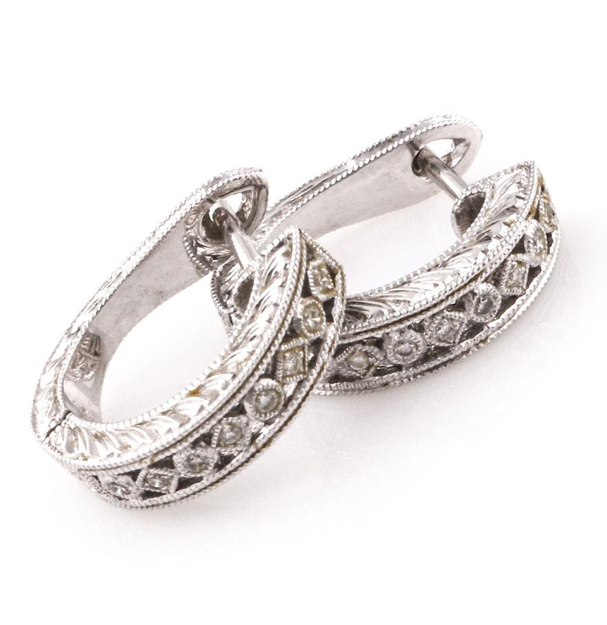 18k White Gold Diamond Huggie Hoop Earrings