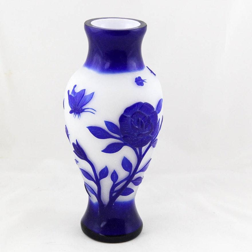 Vintage Cobalt Blue Peking Glass Cameo Vase Ebth