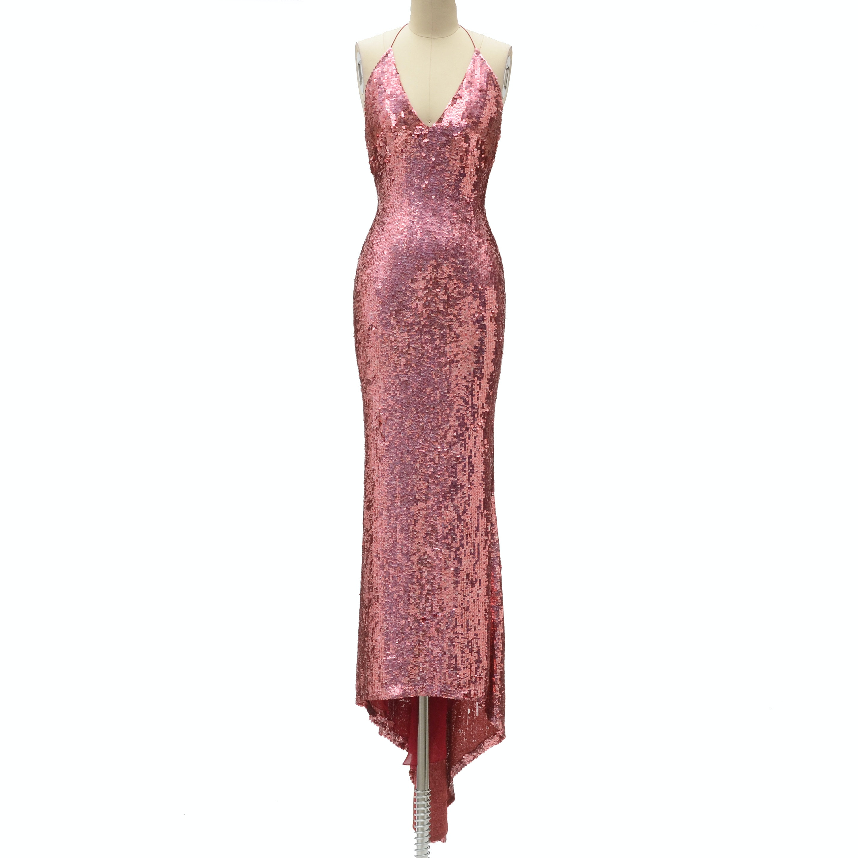 "Badgley Mischka Designer Pink Sequined Fuschia Silk Halter Strap Evening Gown with V-Cut Neckline and Signature Label That Reads ""ERICA 15612"" in Black Marker"