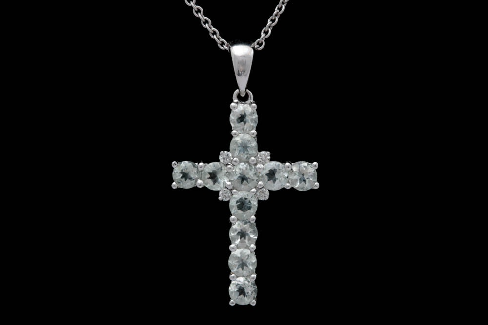 18K White Gold, Green Amethyst and Diamond Cross with Chain