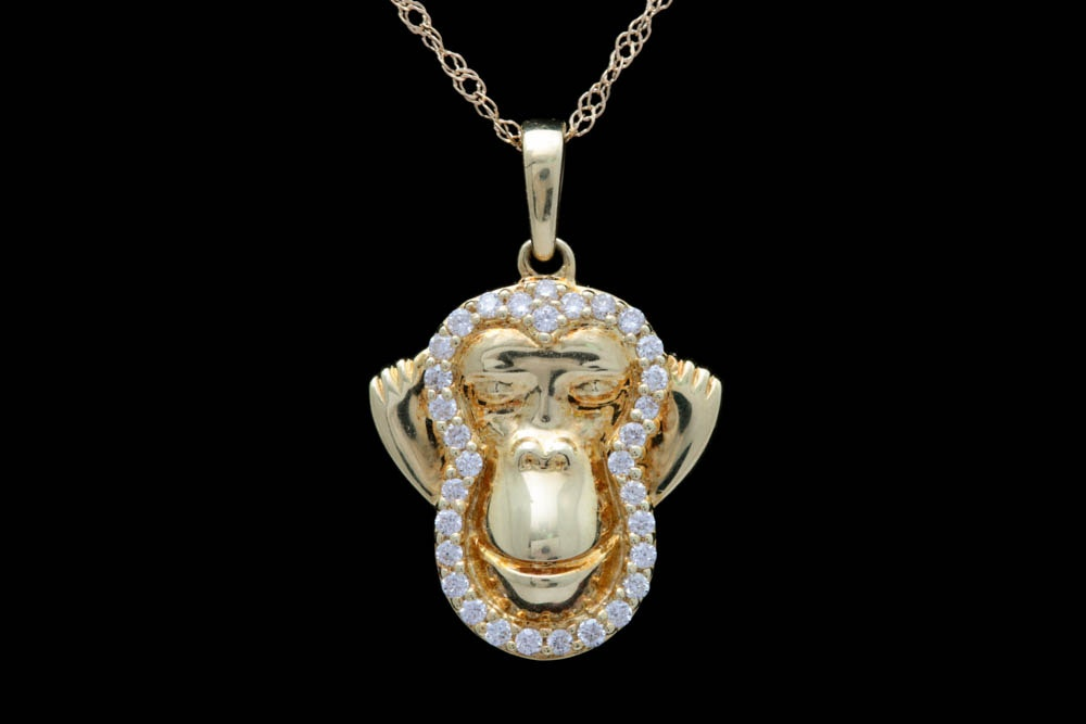 "18K Yellow Gold and Diamond ""Hear No Evil"" Pendant with Chain"