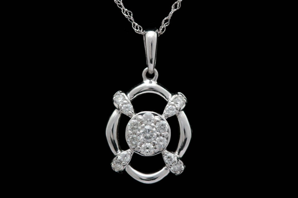 0.25 CTW Diamond and 18K White Gold Pendant with Chain