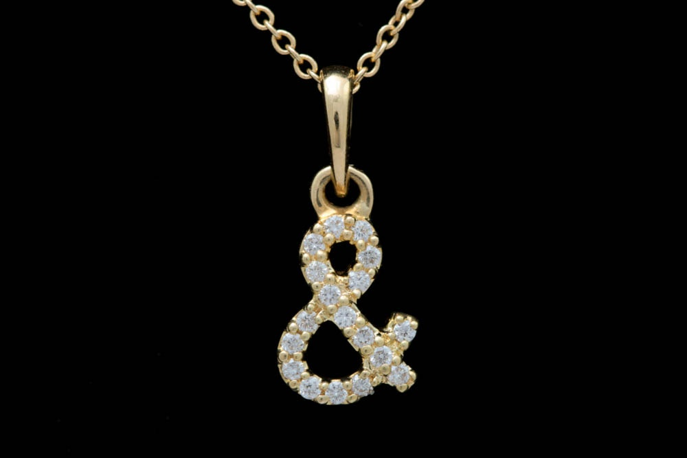 "18K Yellow Gold and Diamond ""Ampersand"" Pendant with Chain"