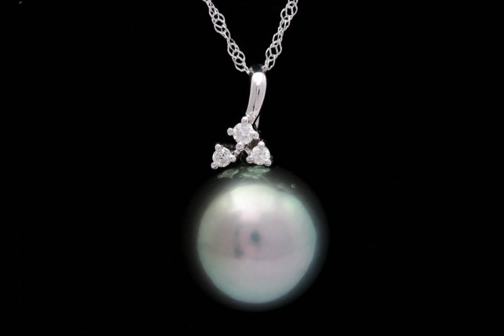 14K Gold, Tahitian Pearl and Diamond Pendant with Chain
