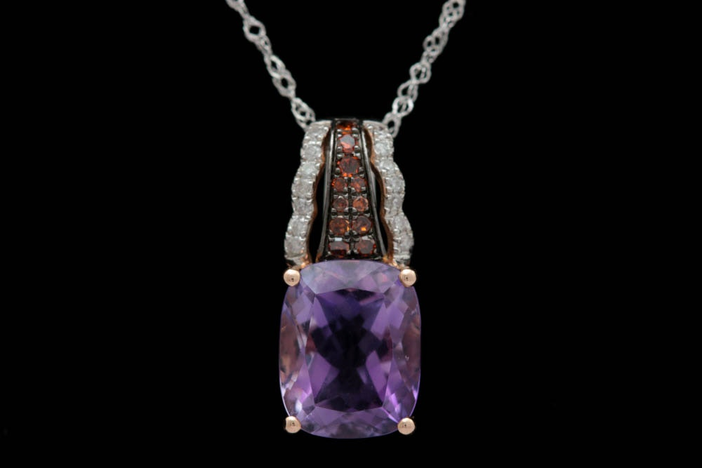 14K Two-Tone Gold, Diamond and Amethyst Pendant with Chain