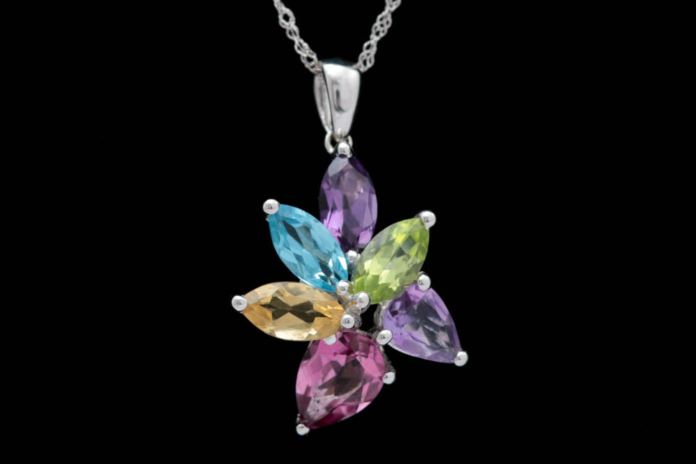 18K White Gold and Multi-Gemstone Flower Pendant with Chain
