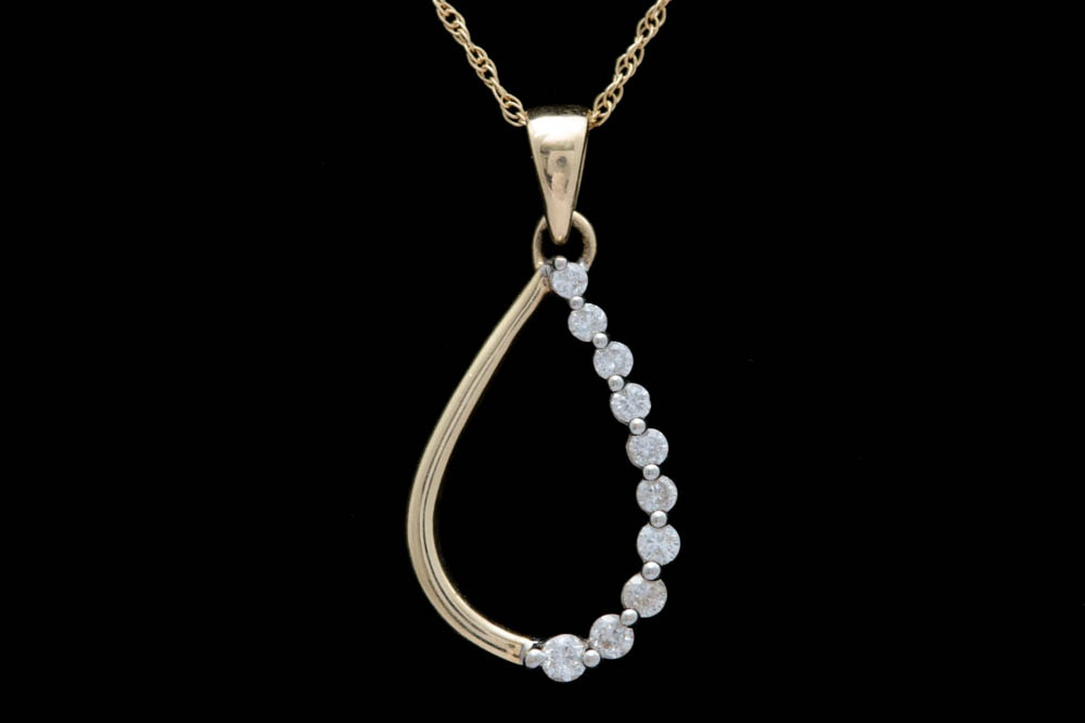 0.25 CTW Diamond and 14K Gold Teardrop Pendant with Chain