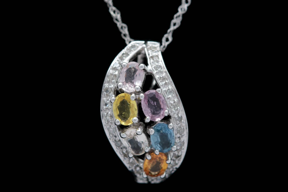 14K White Gold, Multi-Sapphire and Diamond Pendant with Chain