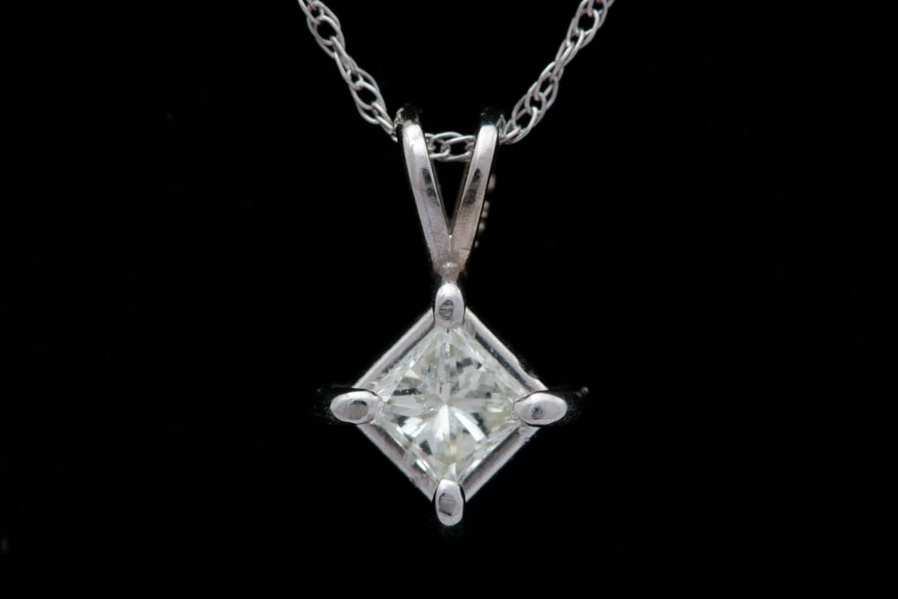 0.24 CT Diamond Solitaire and 14K White Gold Pendant with Chain
