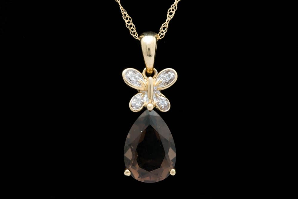 18K Gold, Smoky Quartz and Diamond Butterfly Pendant with Chain