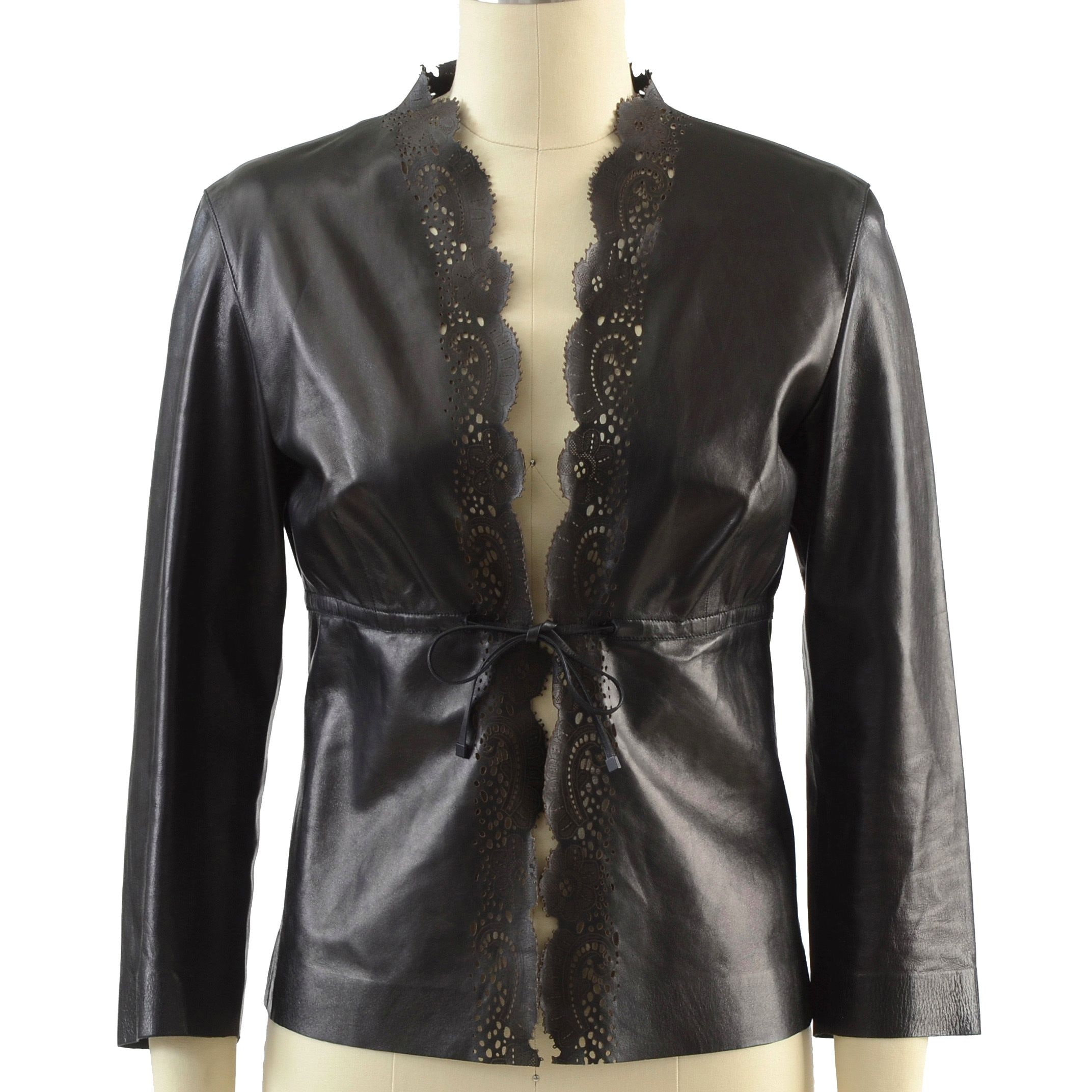 Gucci Black Noir Lambskin Leather Laser Cut Jacket