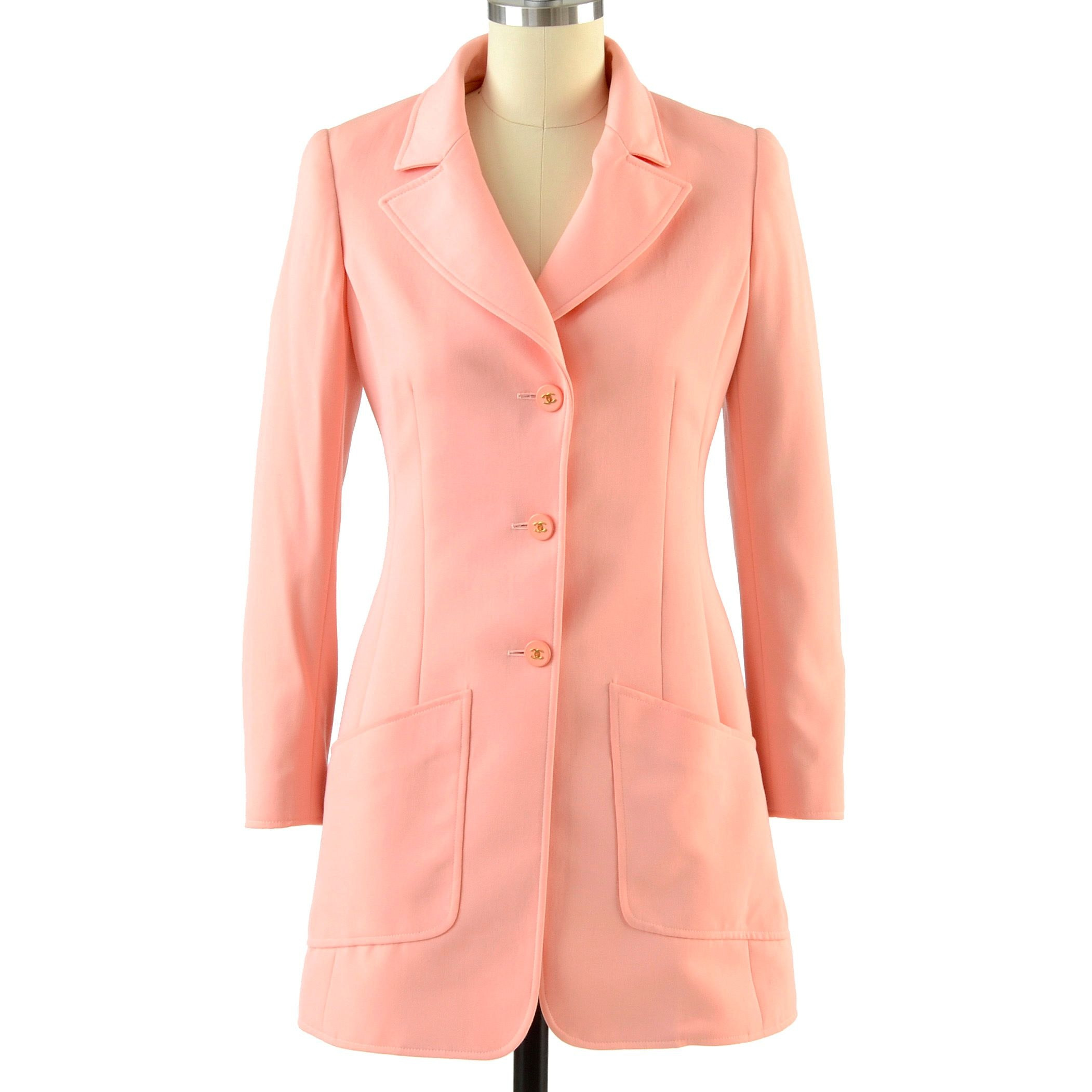 Chanel Boutique Gabardine Wool and Silk Suit in Coral