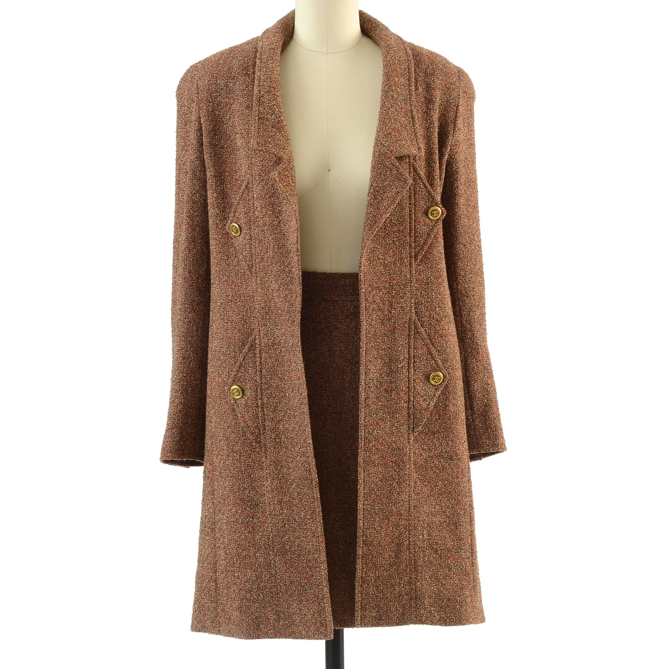 1990s Chanel Boutique Wool Boucle and Silk CC Logo Button Open Front Dress Coat and Skirt Ensemble
