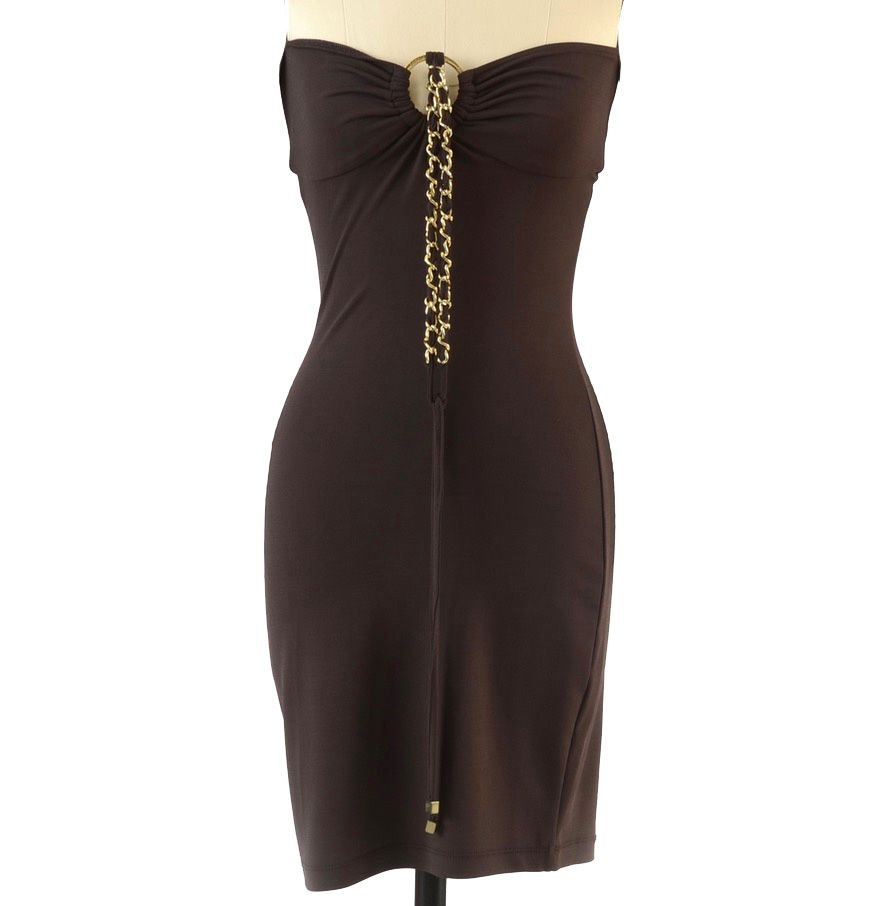 Michael Kors Chocolate Brown Polyester Jersey Form Fitting Body Con Halter Dress