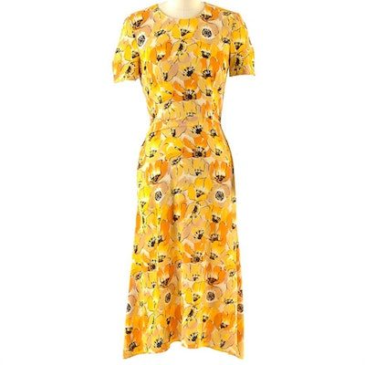 Prada Poppy Floral Print Silk Dress from the Fall of 2000 Ready-To-Wear Collection