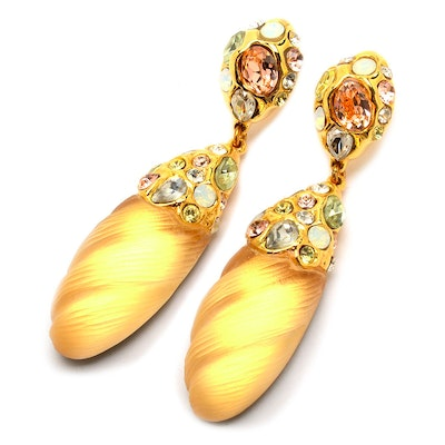 Alexis Bittar Lucite Pierced Earrings Encrusted with Swarovski Crystals