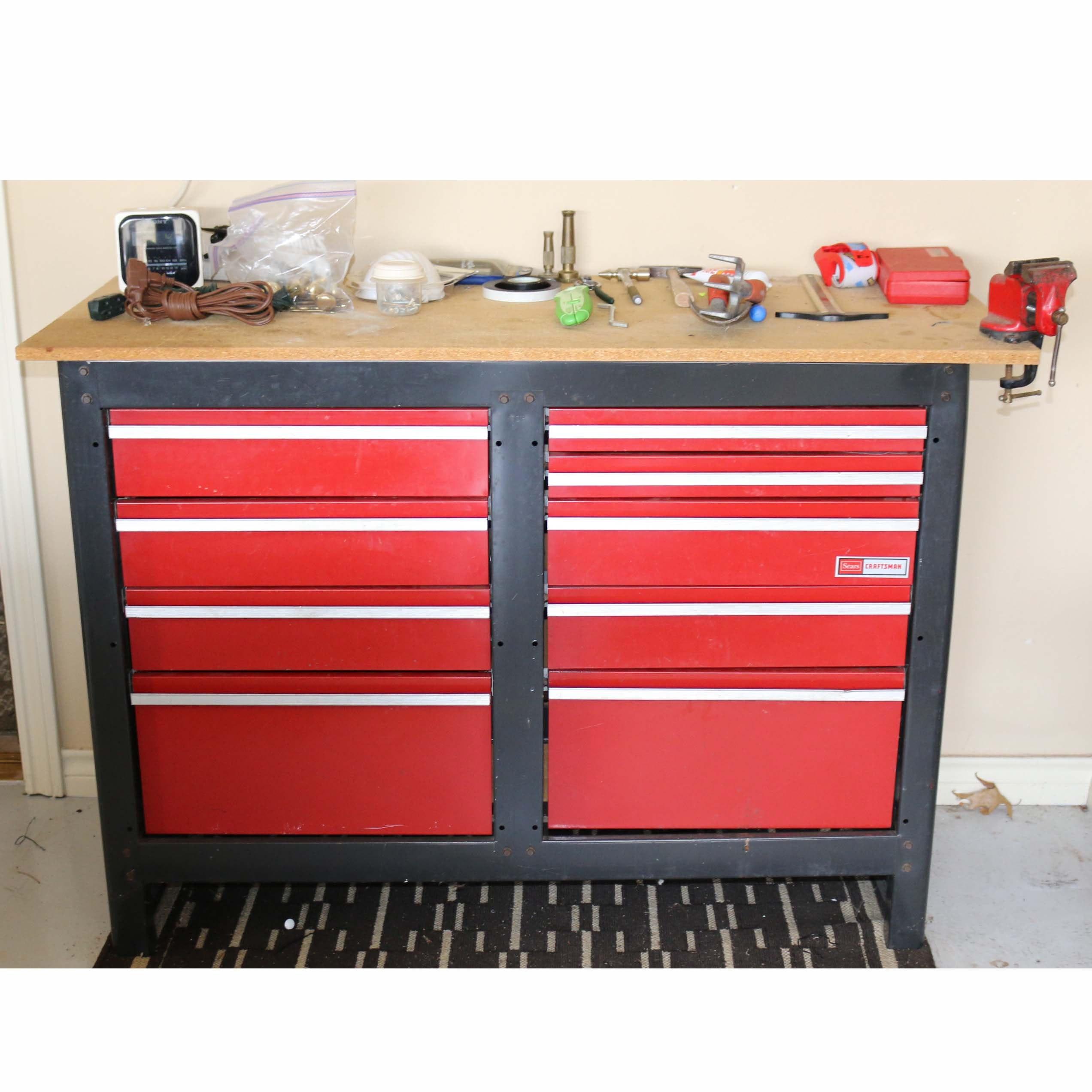 craftsman tool box and various tools