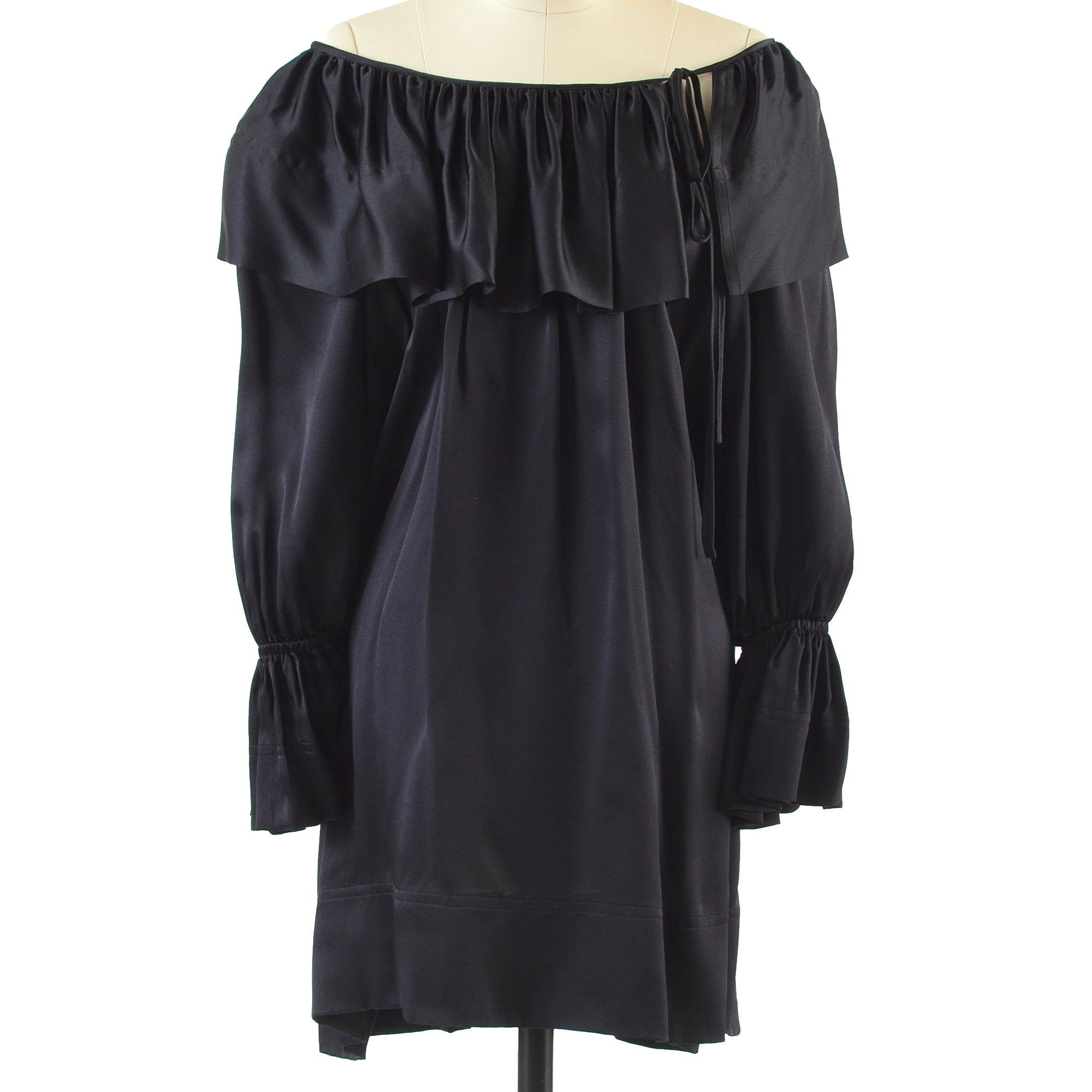 Angelo Tariazzi of Paris Black Silk Over-The-Knee Length Tunic Dress