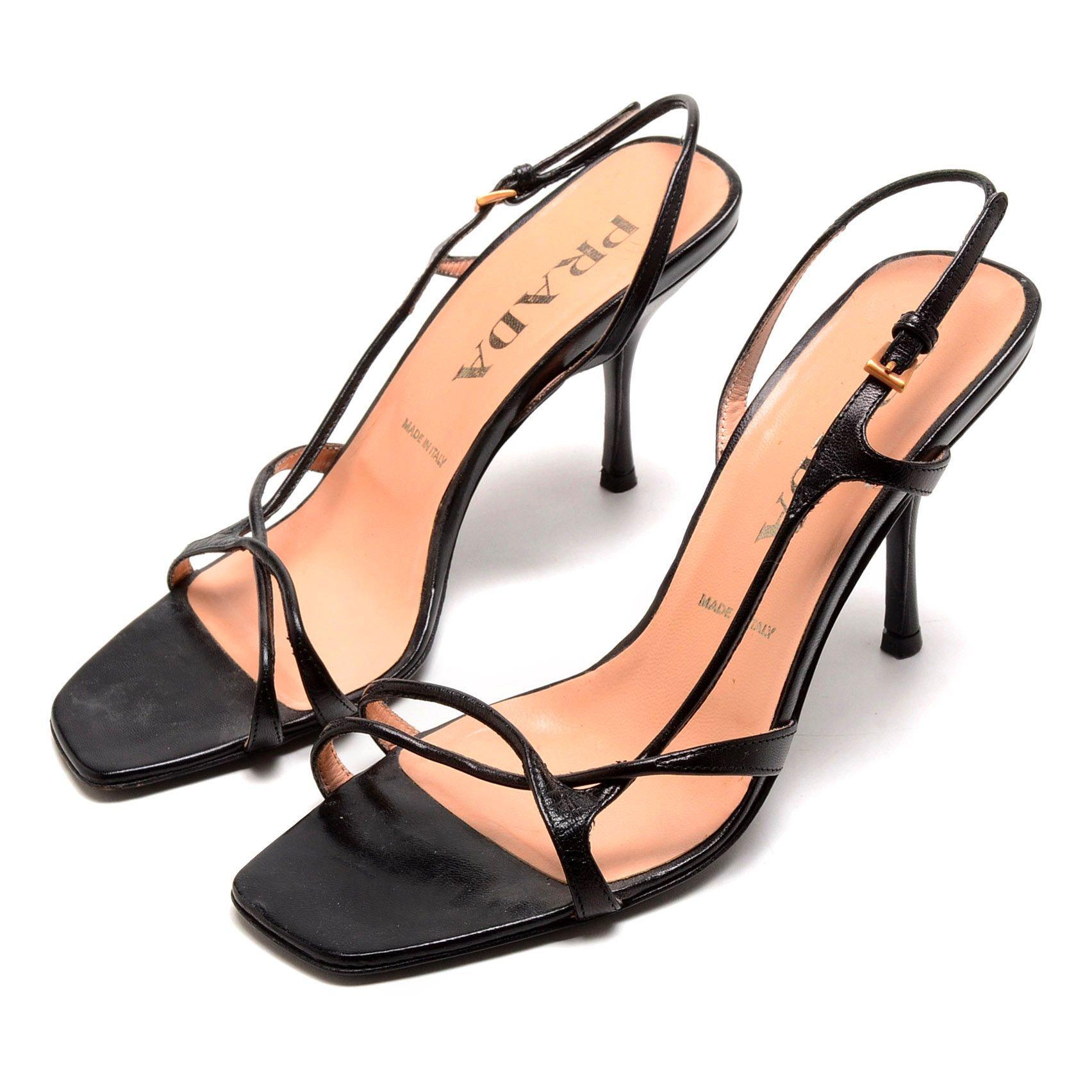 Prada Black Leather Strappy Slingback Dress Sandals