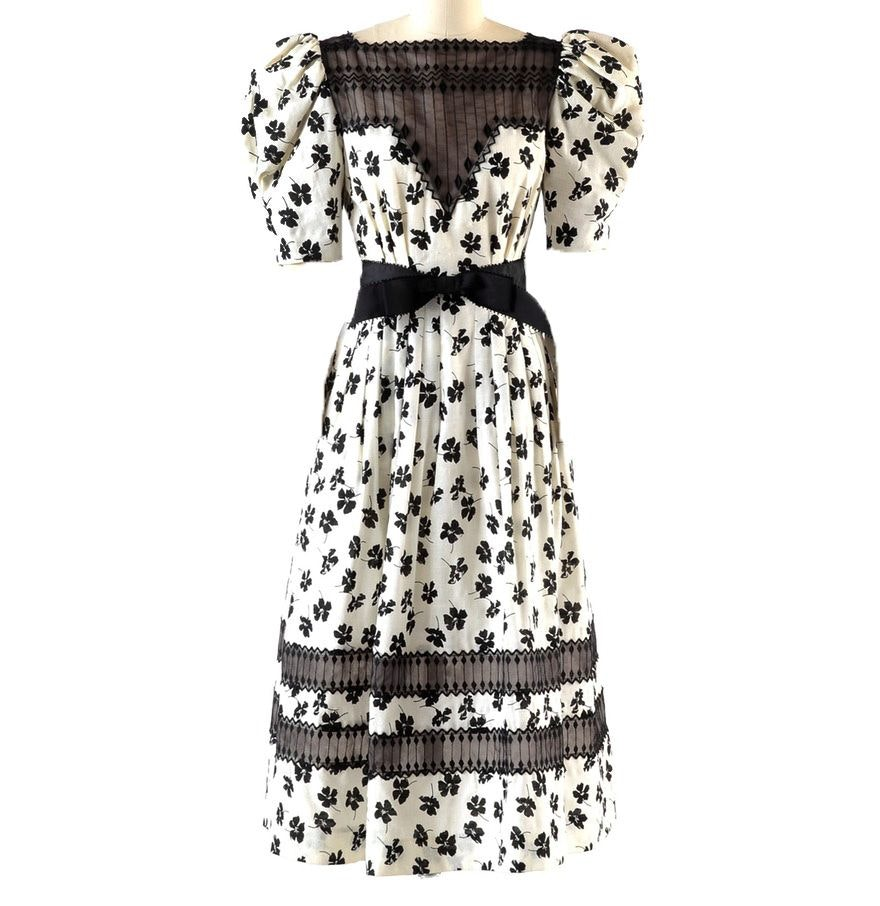 1980s Deadstock Vintage Victor Costa Black Floral and Ivory Cotton Dress with Embroidery
