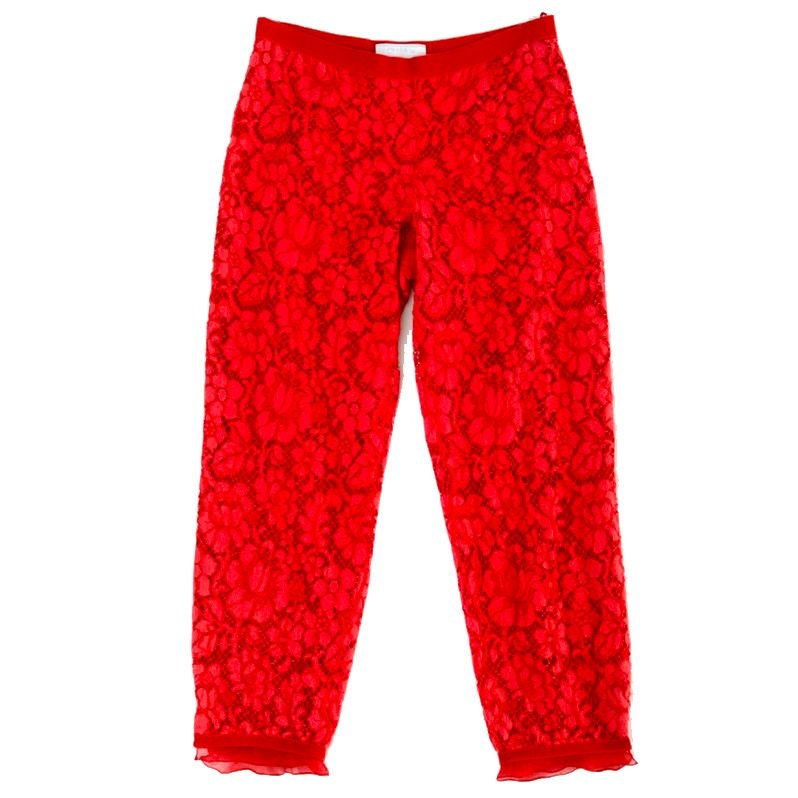 Prada Red Silk and Floral Lace Cropped Trousers with Grosgrain Ribbon