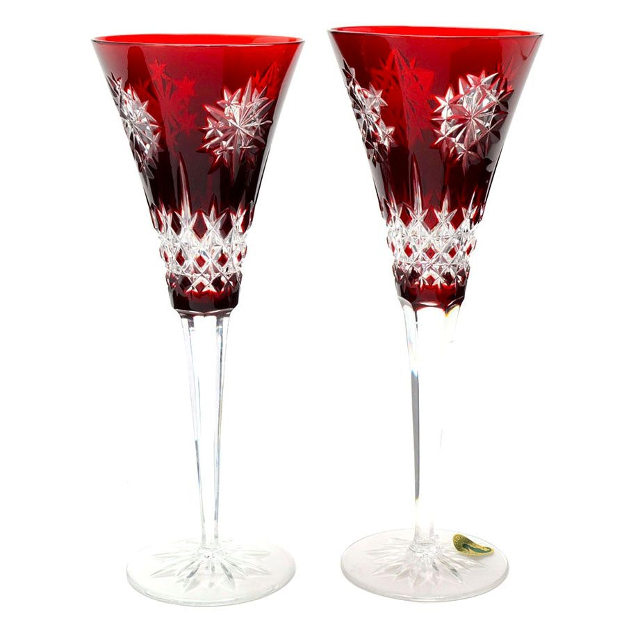 Two Waterford Snow Crystal Flutes in Ruby Red