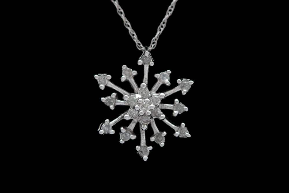 0.20 CTW Diamond and 10K White Gold Snowflake Pendant with Chain
