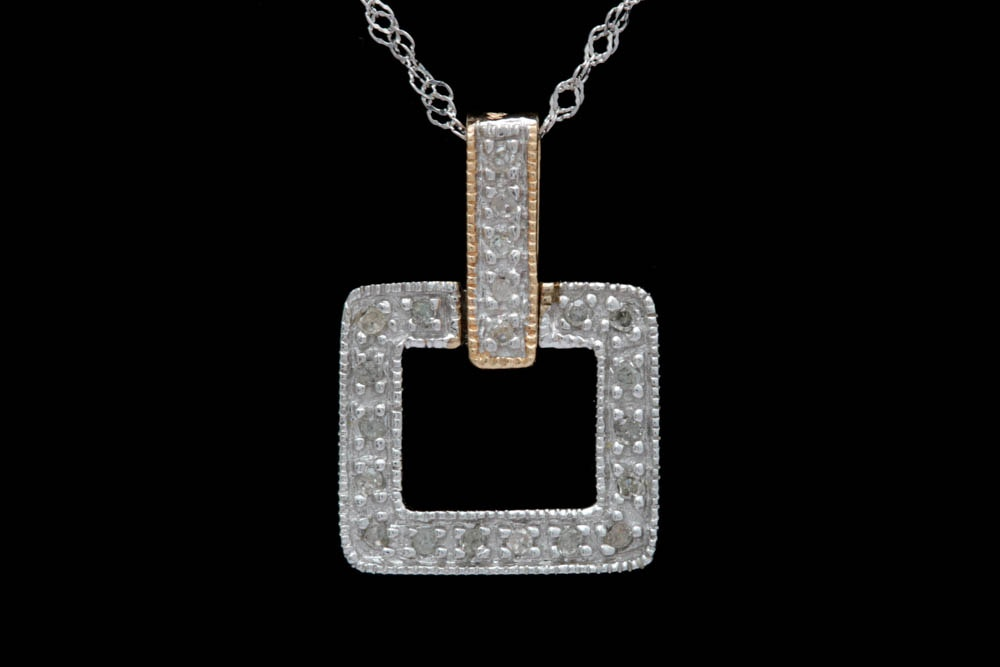14K Two-Tone Gold and Diamond Pendant with Chain