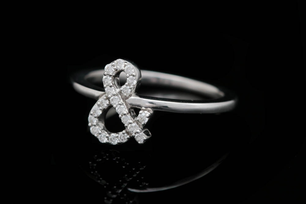 18K White Gold and Diamond Ampersand Ring