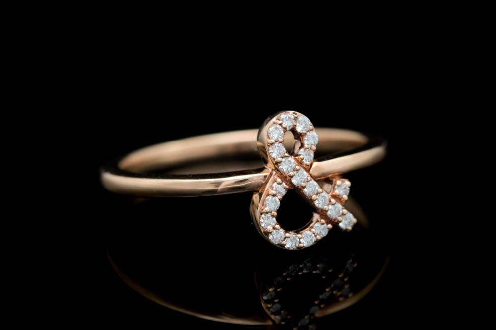 18K Rose Gold and Diamond Ampersand Ring