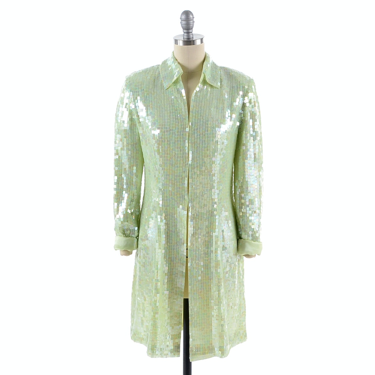 Basix II Celadon Silk Long Dress Jacket Embellished with Square Iridescent Sequins