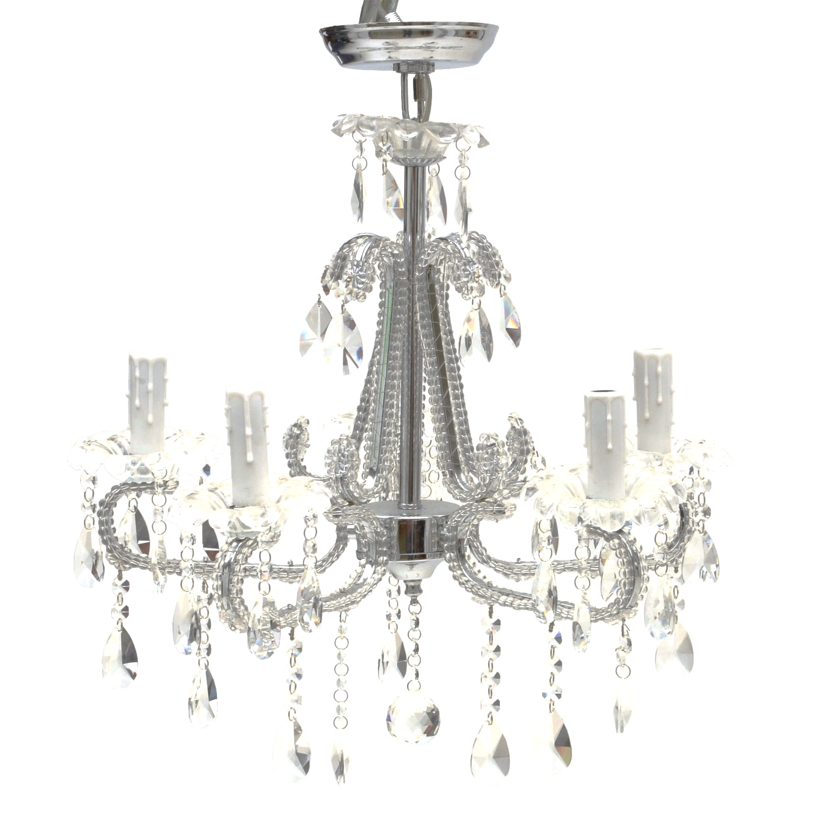 Silver Toned Crystal Chandelier