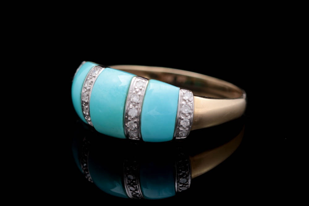 14K Gold, Turquoise, and Diamond Ring