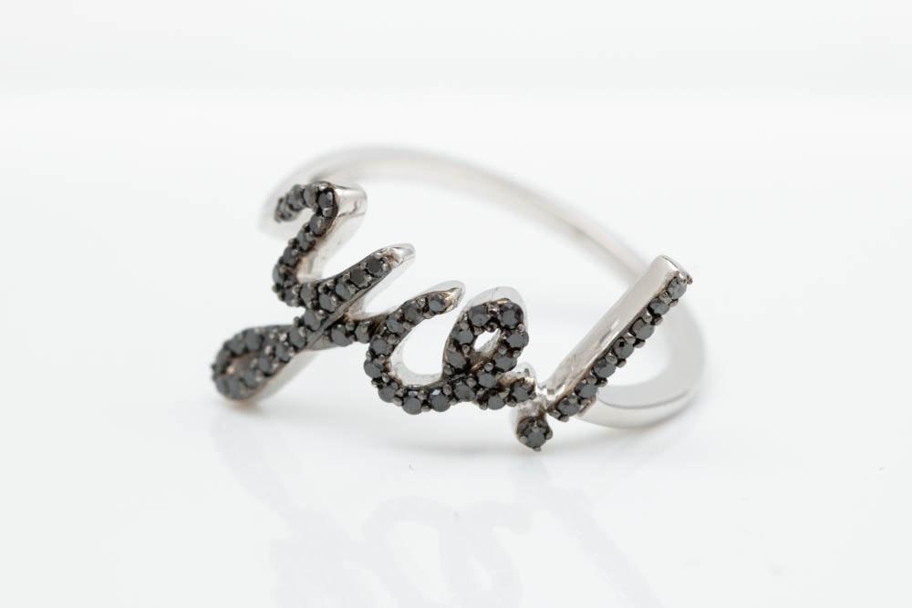 "0.33 CTW Black Diamond and 18K White Gold ""YO!"" Ring"
