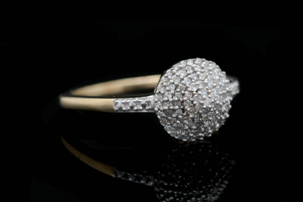 0.25 CTW Pavé Set Diamond and 10K Yellow Gold Dome Ring