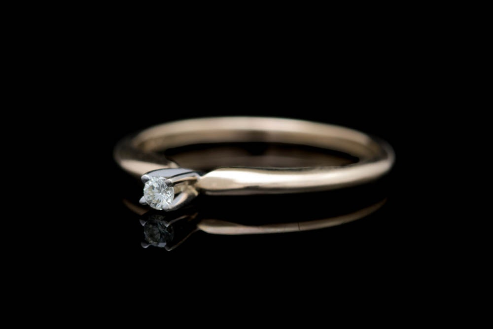 14K Gold and Diamond Solitaire Engagement Ring