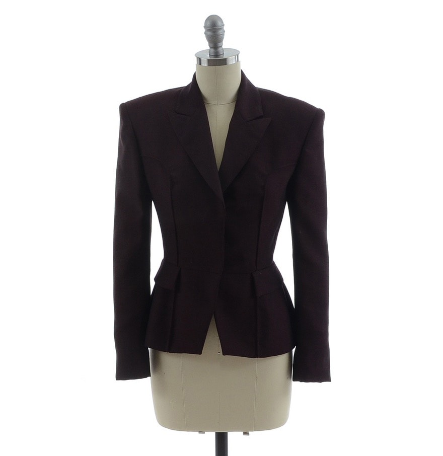 Gucci Wool Blend Tailored Blazer in Merlot with Monochromatic Silk Lining