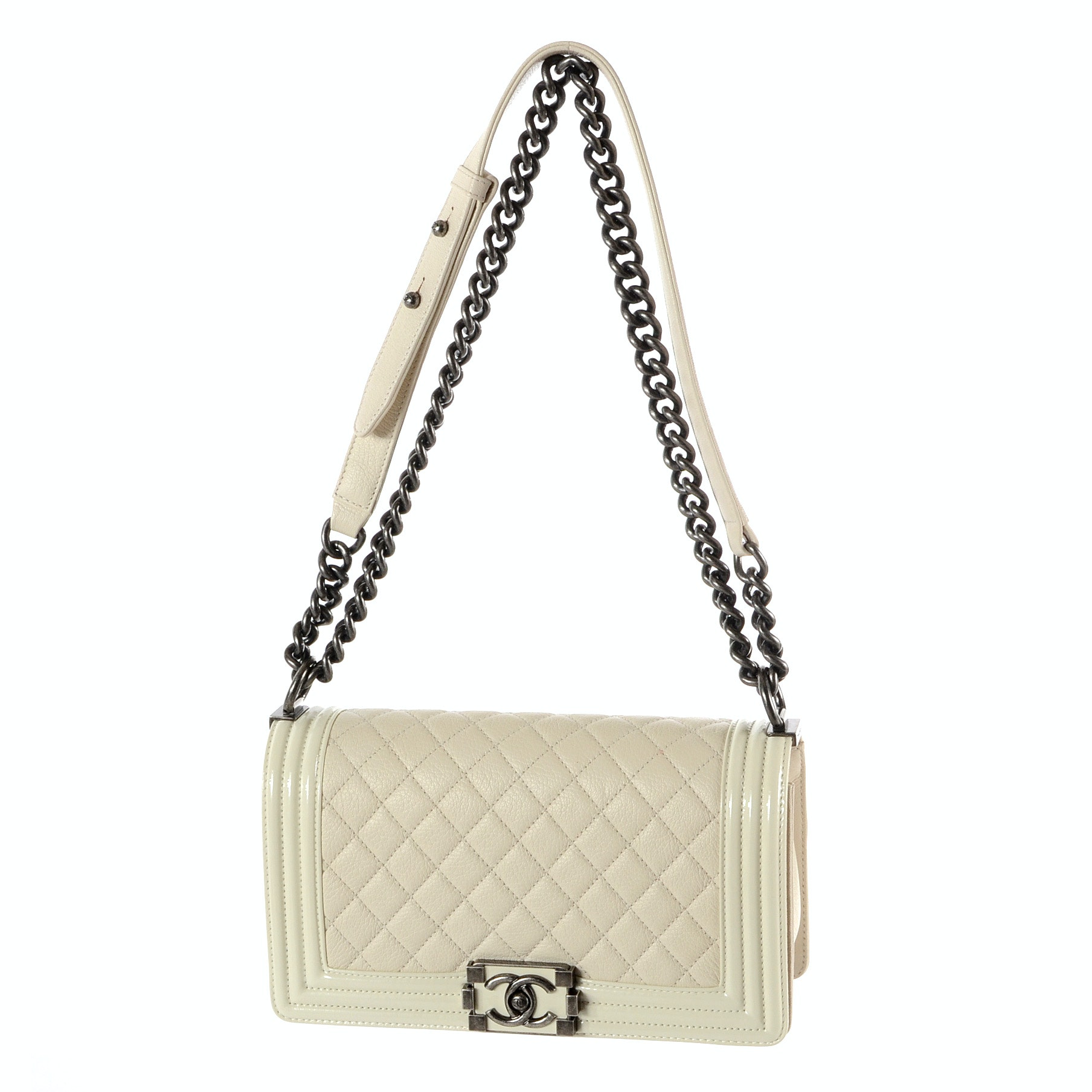 Chanel Boy Flap Bag in Ivory Quilted and Patent Leather
