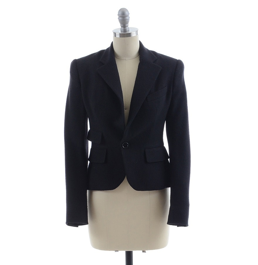 Ralph Lauren Collection Black Single Button Blazer in Wool Blend