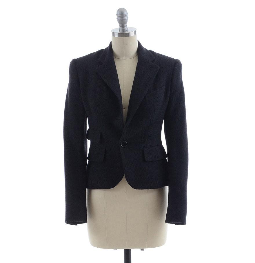 Ralph Lauren Collection Black Single Button Blazer in Wool Blend