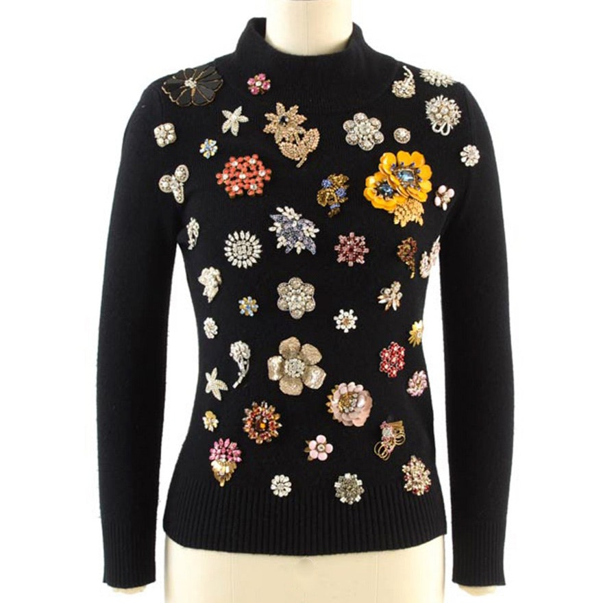Alexander Mcqueen Black Cashmere Knit Mock Turtleneck Sweater Accented with Prong Set Crystal Rhinestone Vintage Inspired Brooch Embellishments