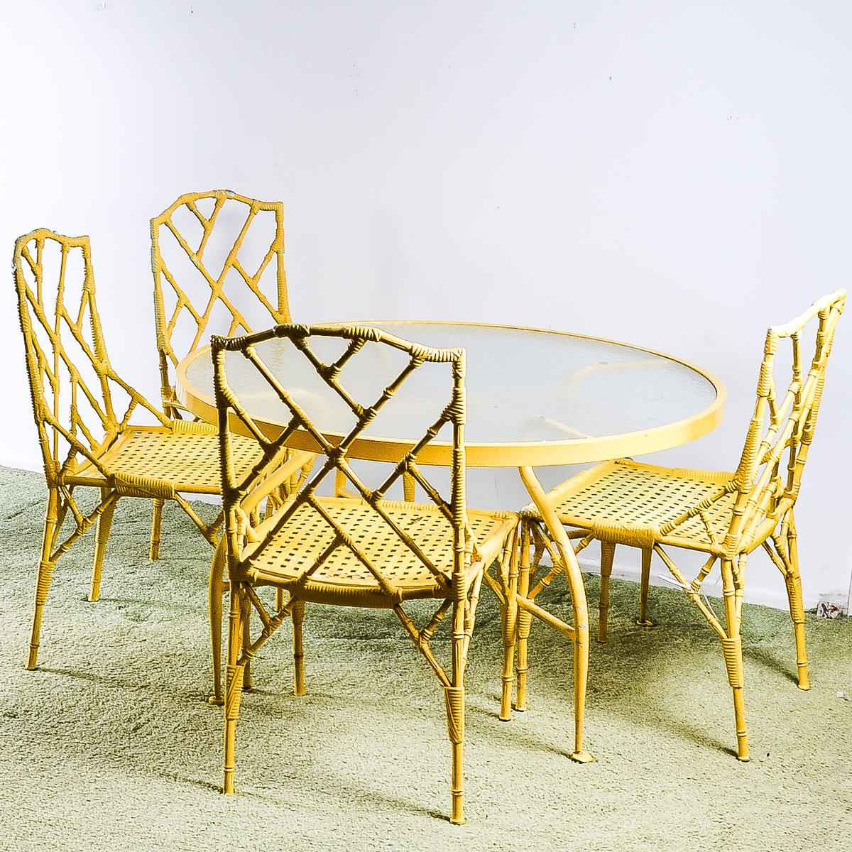 vintage cast metal bamboo style patio table and chairs ebth vintage cast metal bamboo style patio table and chairs