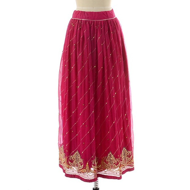 North Indian Inspired Magenta Pink Full Skirt with Embroidery and Embellished with Golden Sequins and Faux Pearls
