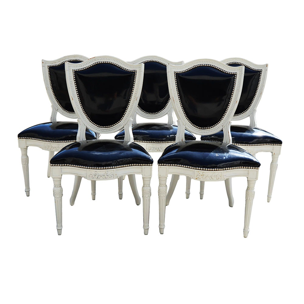Sheraton Style Black And White Dining Chairs By Karges
