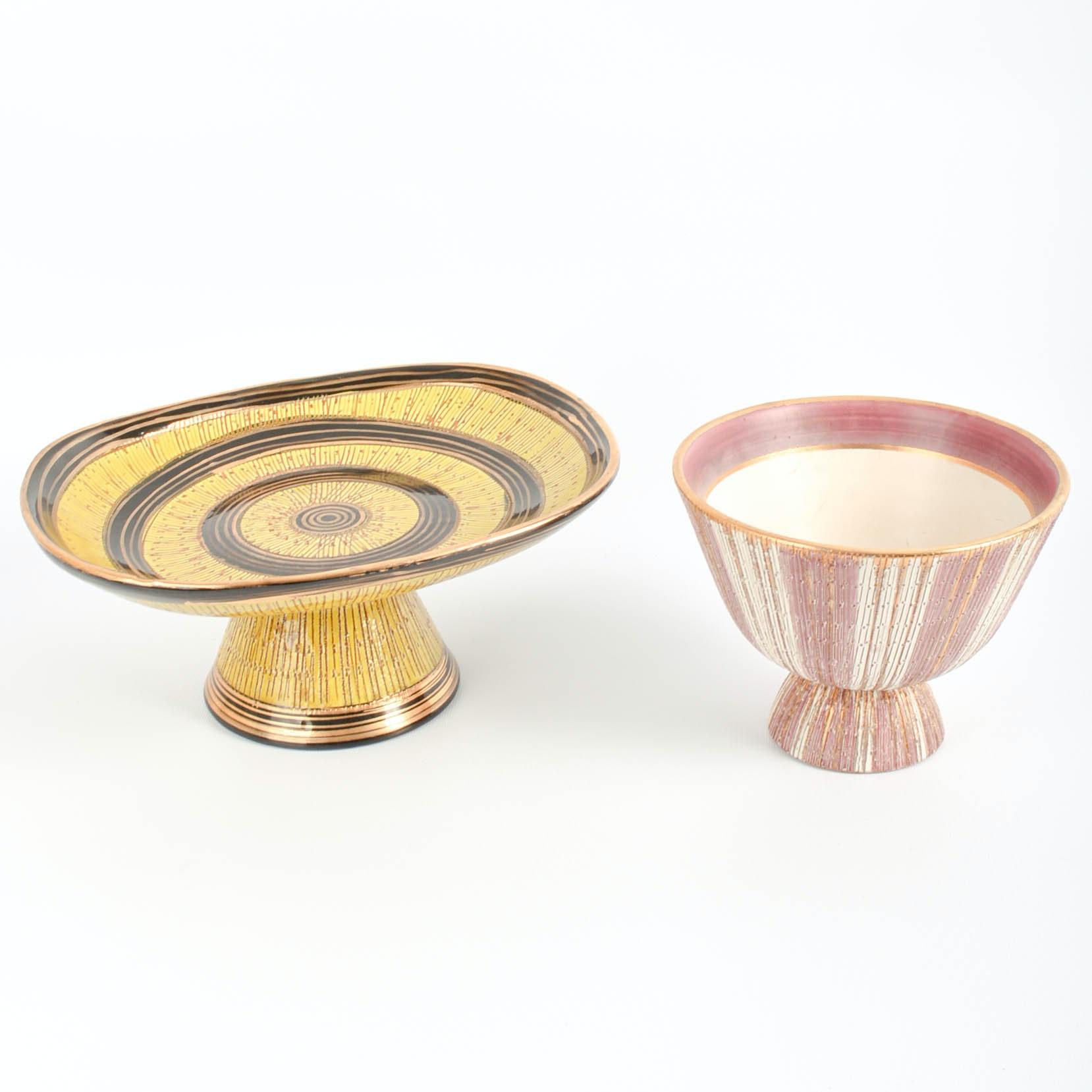 """Two 1960s Bitossi for Goodfriend Imports """"Seta"""" Ceramic Pieces"""