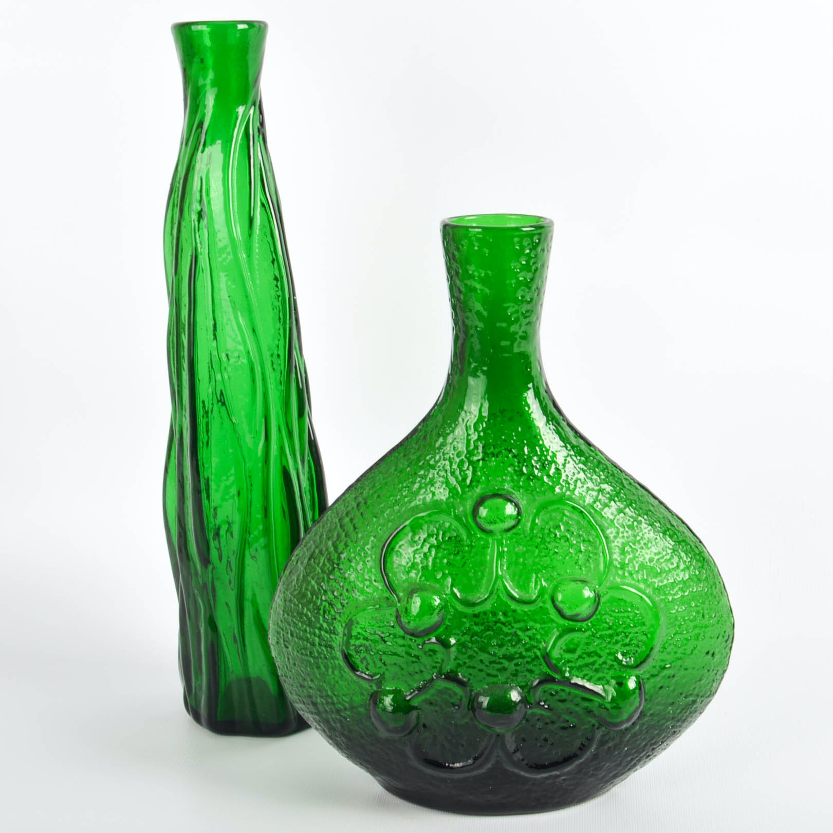 Two 1960s Empoli Verde Emerald Green Glass Vases