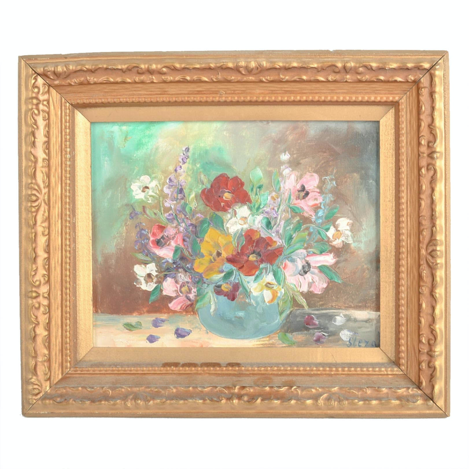 Signed Oil on Canvas Floral Still Life Painting