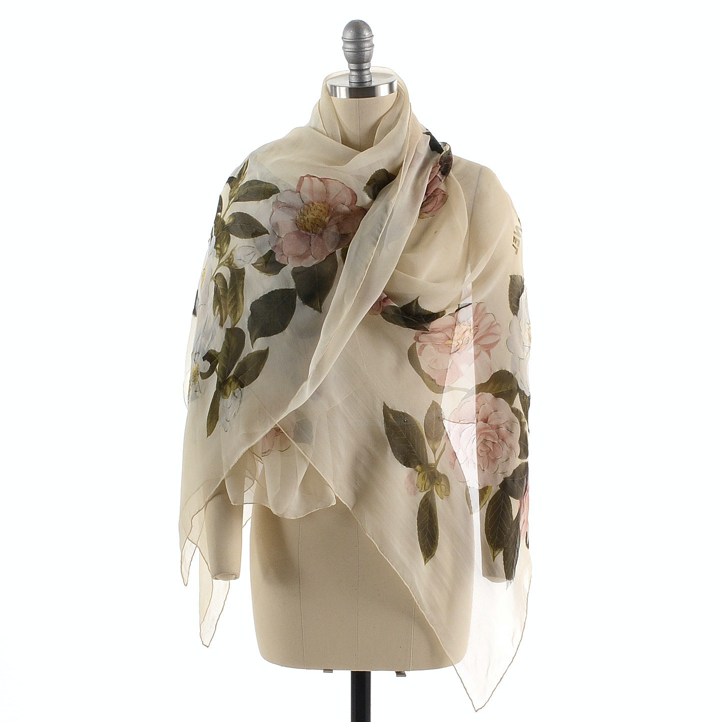 Chanel Silk Chiffon Scarf in a Multicolored Rose Print