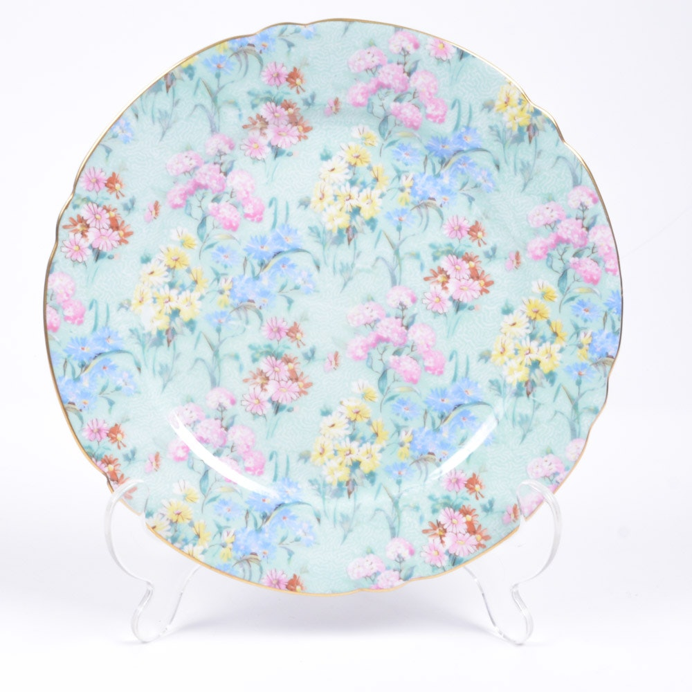 "Shelley Bone China ""Melody"" Plate and Stand"