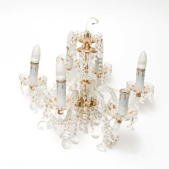 Gold Tone Crystal Chandelier